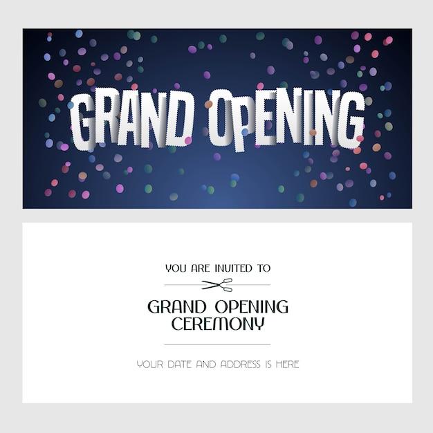 Ilustración de gran inauguración, tarjeta de invitación para nueva tienda. banner de plantilla, invitación para el evento de apertura, ceremonia de corte de cinta roja Vector Premium