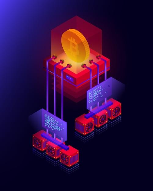 Ilustración de la granja minera de criptomonedas, procesamiento de big data para bitcoin, concepto isométrico de blockchain en colores violeta y rojo Vector Premium