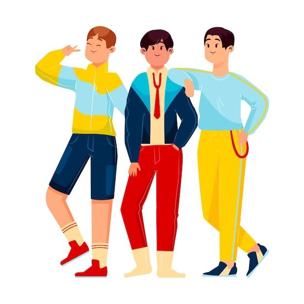Ilustración de grupo de chicos k-pop vector gratuito