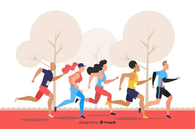 Ilustración del grupo de personas corriendo vector gratuito