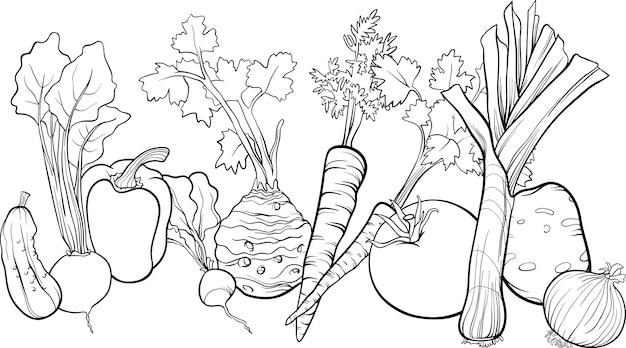 Ilustración De Grupo De Verduras Para Colorear Libro Descargar