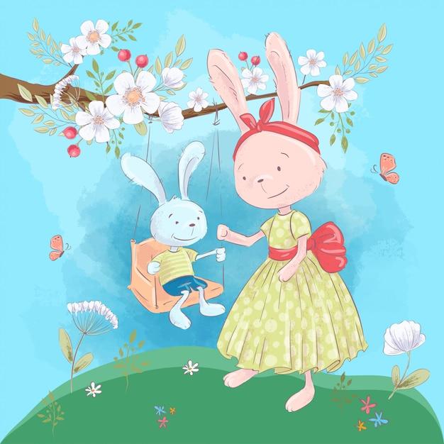 Ilustración para una habitación infantil: lindos conejos, madre e hijo en un columpio con flores. Vector Premium