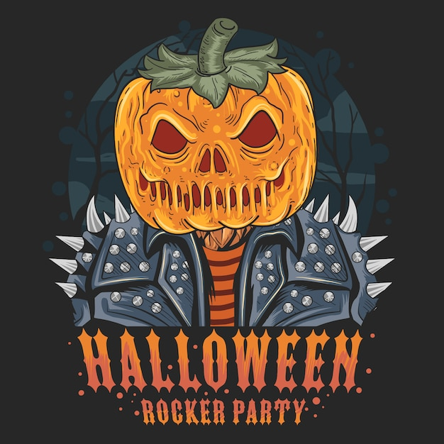 Ilustración de halloween de la cabeza de la calabaza Vector Premium