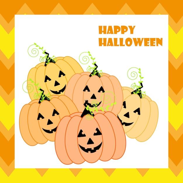 Ilustración de halloween con lindas linternas de jack o en fondo de zigzag naranja adecuado para la tarjeta de halloween Vector Premium