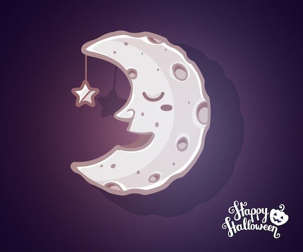 Ilustración de halloween de media luna ligera con cráteres Vector Premium