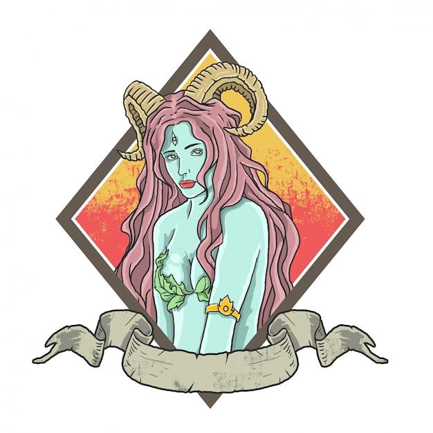 Ilustración hermosa dama bruja Vector Premium