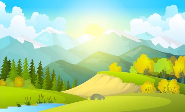 Ilustración del hermoso paisaje de campos de verano con un amanecer Vector Premium