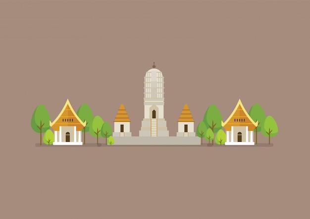 Ilustración histórica del antiguo templo blanco Vector Premium