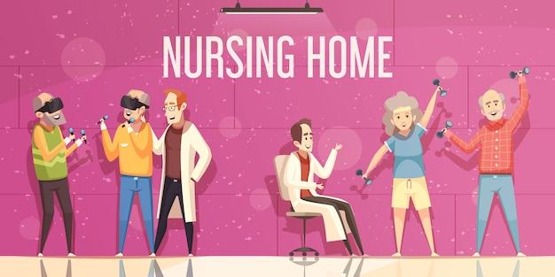 Ilustración de hogar de ancianos vector gratuito