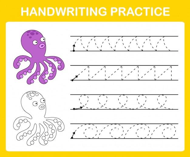 Ilustración de hoja de práctica de escritura a mano Vector Premium