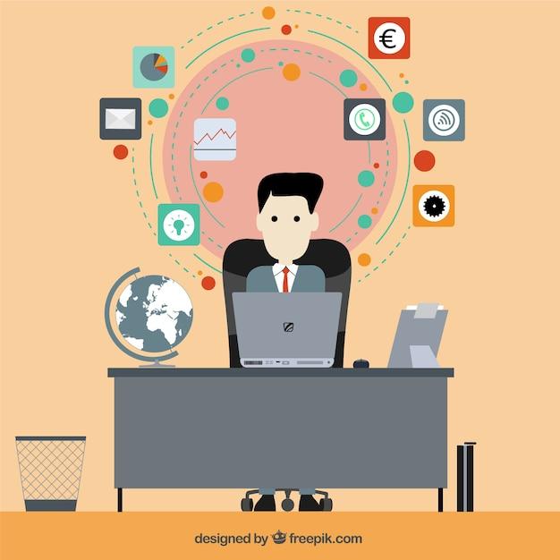 Ilustración Hombre de negocios en diseño plano Vector Gratis