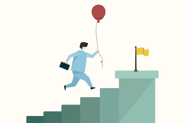 Ilustración de un hombre de negocios llegando a un objetivo vector gratuito