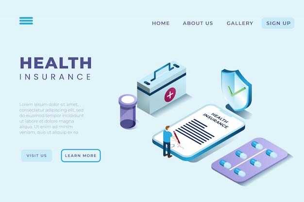 Ilustración de un hombre que firma un contrato de seguro de salud en estilo isométrico 3d Vector Premium