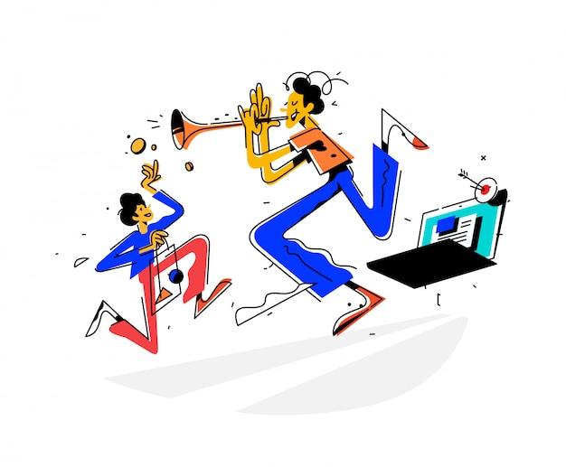 Ilustración de un hombre tocando una trompeta y atrayendo clientes al sitio Vector Premium