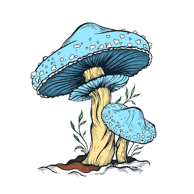Ilustración de hongo azul Vector Premium