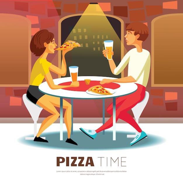 Ilustración de la hora de pizza vector gratuito