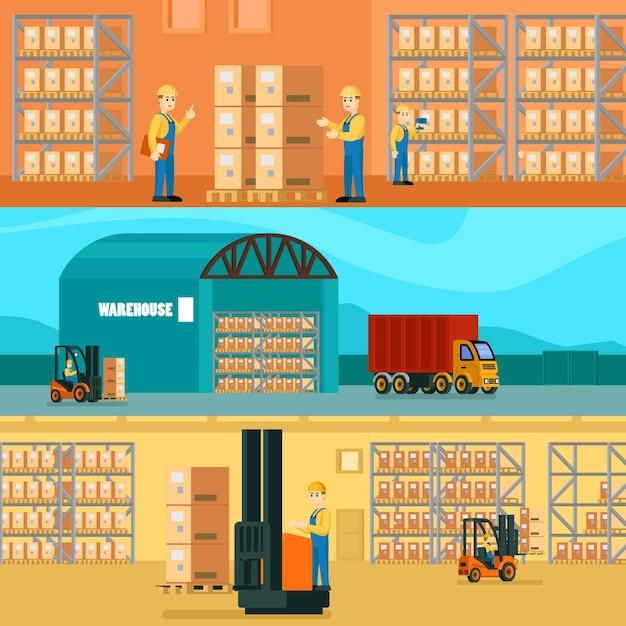 Ilustración horizontal de almacén logístico vector gratuito