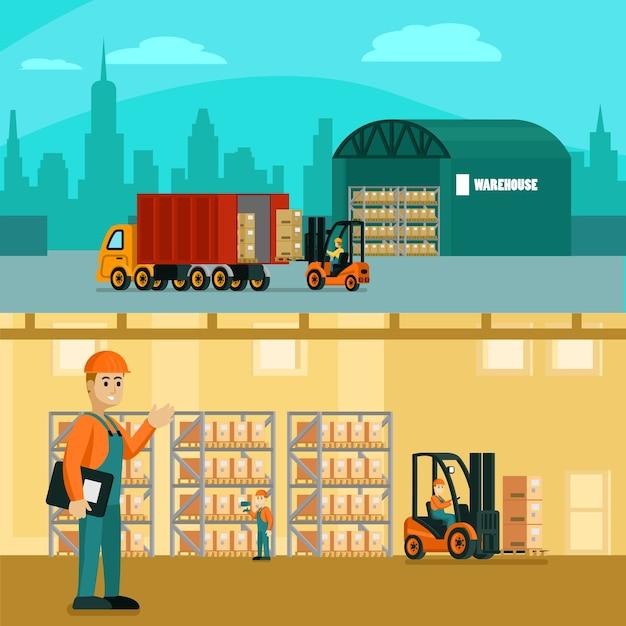 Ilustración horizontal de almacén vector gratuito