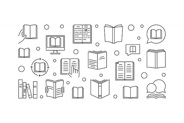 Ilustración horizontal de concepto de libros en estilo de línea fina Vector Premium