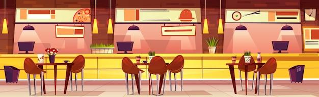 Ilustración horizontal del vector con el café. interior acogedor de dibujos animados con mesas y sillas. mueble brillante vector gratuito