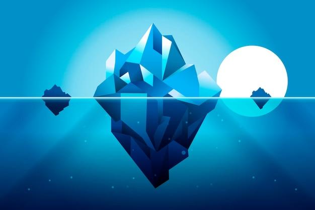 Ilustración de iceberg de diseño plano con sol vector gratuito