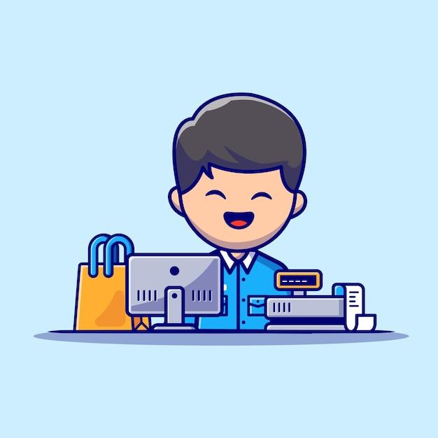 Ilustración de icono de dibujos animados de cajero masculino. concepto de icono de profesión de personas vector gratuito