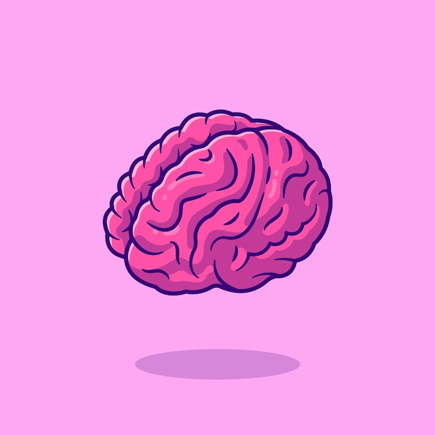 Ilustración de icono de dibujos animados de cerebro. concepto de icono de objeto de educación. vector gratuito