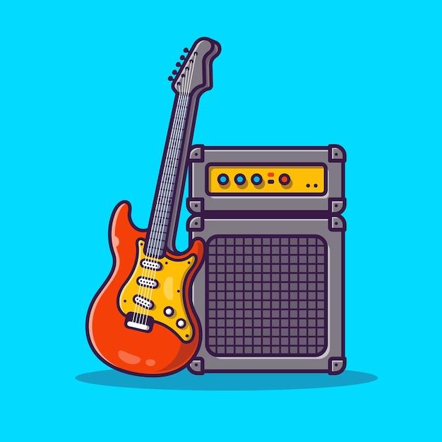 Ilustración de icono de dibujos animados de sistema de sonido y guitarra. concepto de icono de equipo de música vector gratuito