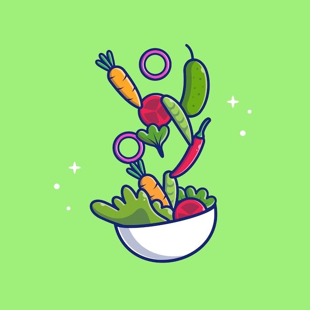Ilustración de icono de ensalada de verduras. comida saludable . concepto de icono de salud aislado Vector Premium