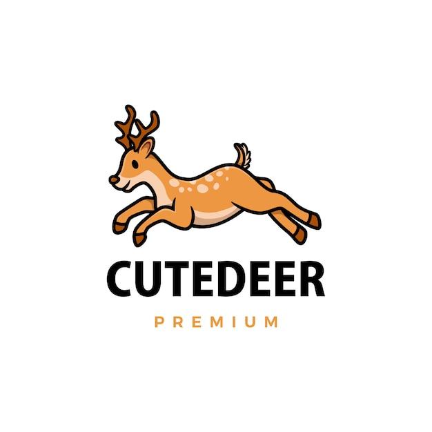 Ilustración de icono de logo de dibujos animados lindo ciervo Vector Premium