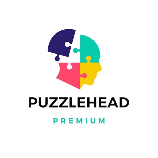 Ilustración de icono de logotipo de cabeza de rompecabezas Vector Premium