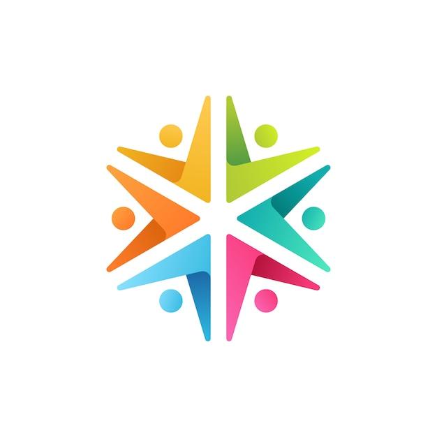 Ilustración de icono de logotipo colorido de personas Vector Premium