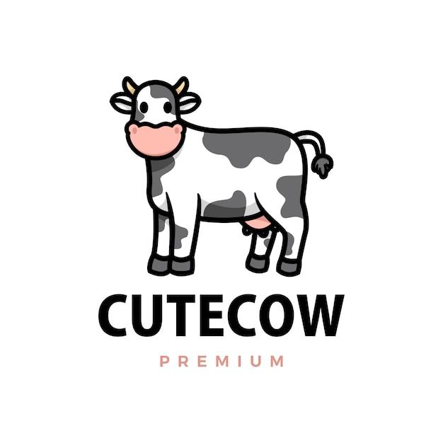 Ilustración de icono de logotipo de dibujos animados de vaca linda Vector Premium