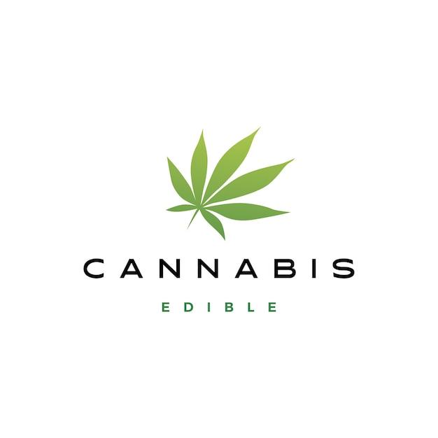 Ilustración de icono de logotipo de hoja de cannabis Vector Premium
