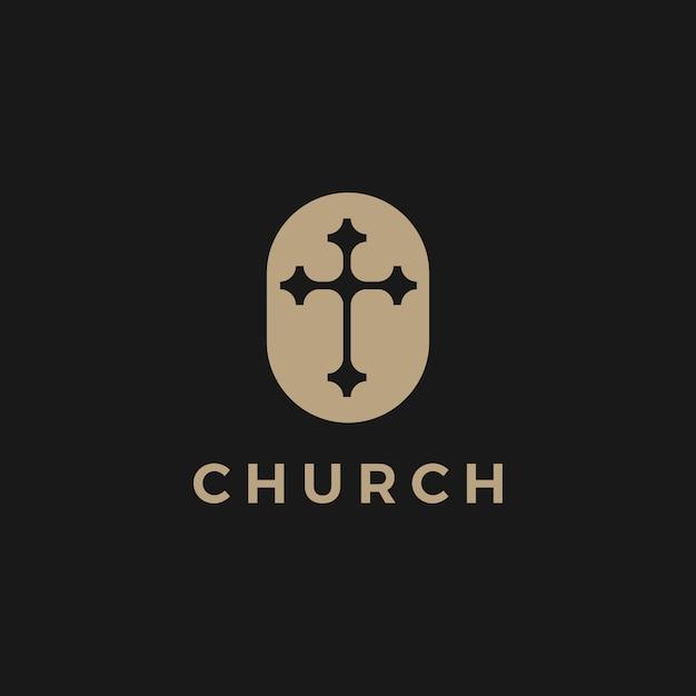 Ilustración del icono del logotipo de la iglesia Vector Premium