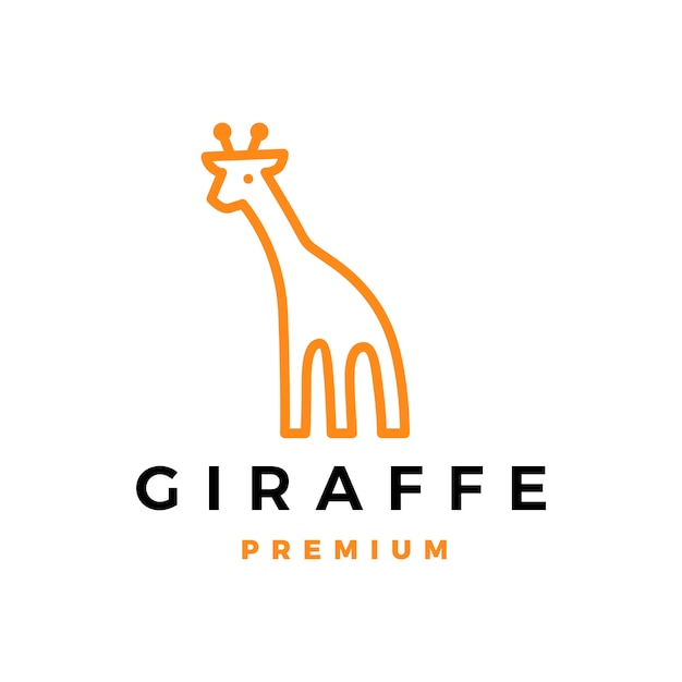 Ilustración de icono de logotipo de jirafa Vector Premium