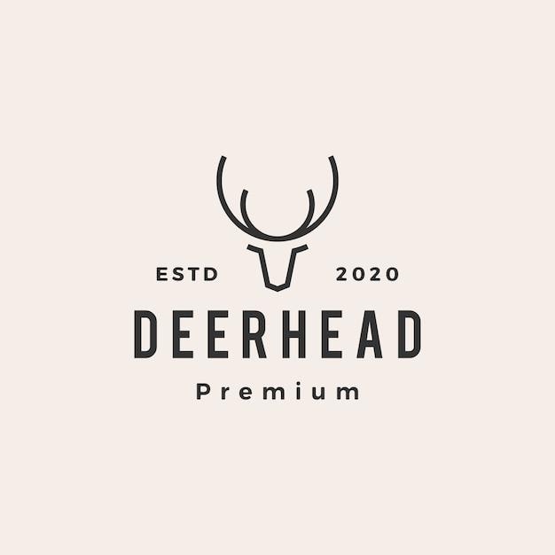 Ilustración de icono de logotipo vintage de cabeza de ciervo Vector Premium