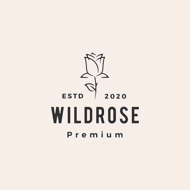 Ilustración de icono de logotipo vintage hipster flor rosa salvaje Vector Premium