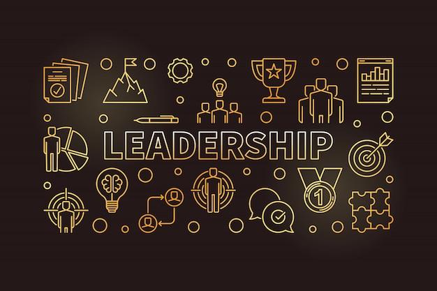 Ilustración de icono de oro horizontal de liderazgo en estilo de contorno Vector Premium