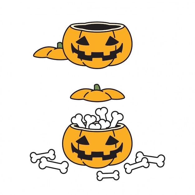 Ilustración de icono de personaje de dibujos animados de calabaza de halloween Vector Premium