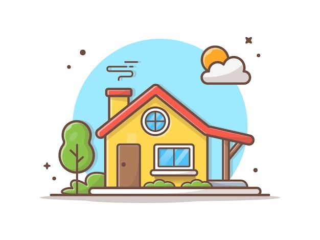 Ilustración de icono de vector de construcción de la casa Vector Premium