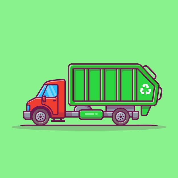 Ilustración de icono de vector de dibujos animados de camión de basura. icono de transporte público vector gratuito