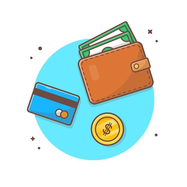 Ilustración de icono de vector de pago financiero. cartera y tarjeta de débito, moneda de oro, concepto de icono de negocios Vector Premium