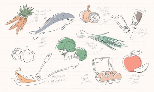 Ilustración de los iconos de alimentos aislados sobre fondo blanco vector gratuito