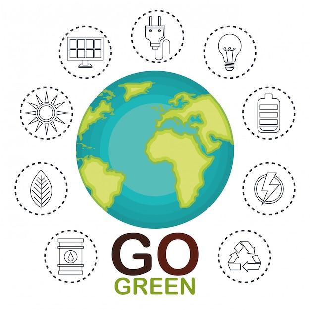 Ilustración de iconos de conjunto de medio ambiente y ecología vector gratuito