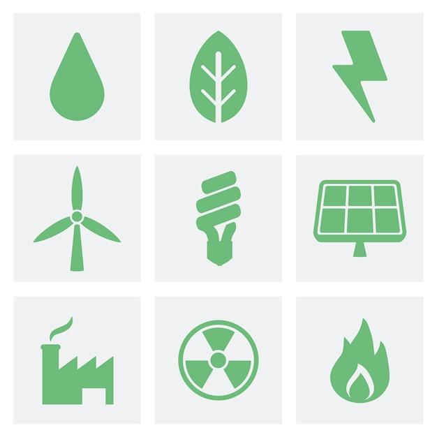 Ilustración de iconos ecológicos y verdes vector gratuito