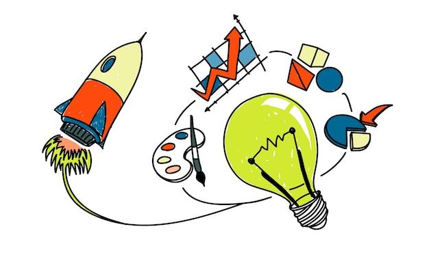 Ilustración de ideas de bombilla vector gratuito