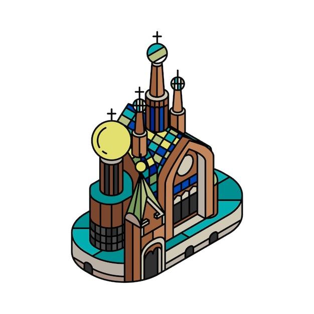 Ilustración de la iglesia del salvador sobre blood russia vector gratuito