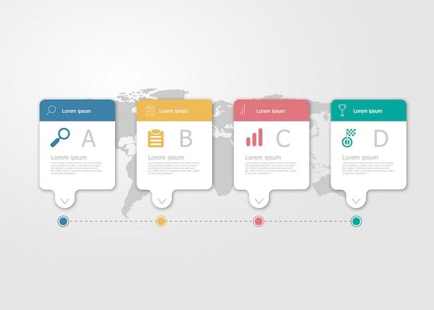 Ilustración de la infografía de la línea de tiempo horizontal 4 pasos para el fondo plano del vector de la presentación del negocio Vector Premium
