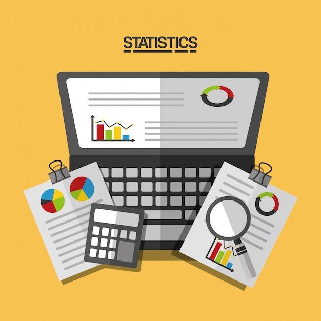 Ilustración del informe comercial de datos estadísticos vector gratuito